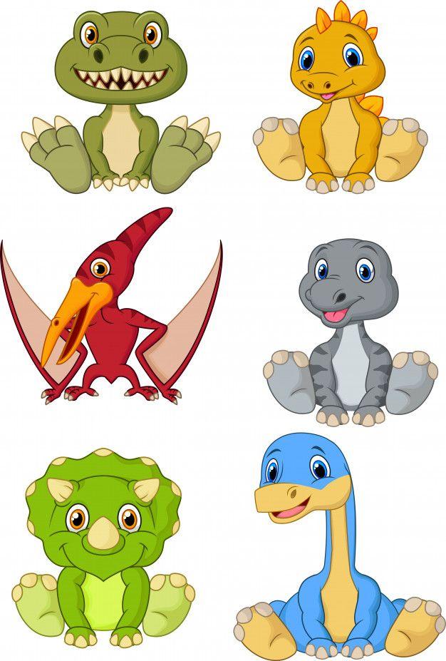 1a8039fcc Conjunto de colección de dibujos animados lindo bebé dinosaurios Vector  Premium