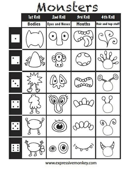 Roll & Draw A Monster - w/ FREE Game Printable | Drawing for ...