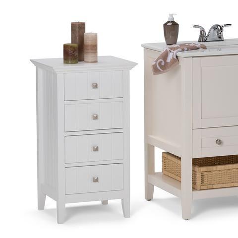 Acadian Four Drawer Floor Cabinet Cabinet Shelving Simpli Home
