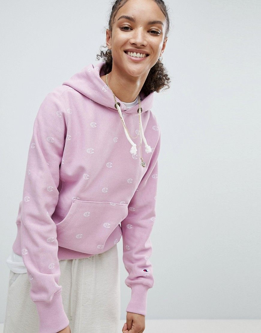 91bfe0040c3a CHAMPION HOODIE WITH ALL OVER LOGO PRINT - PINK.  champion  cloth ...