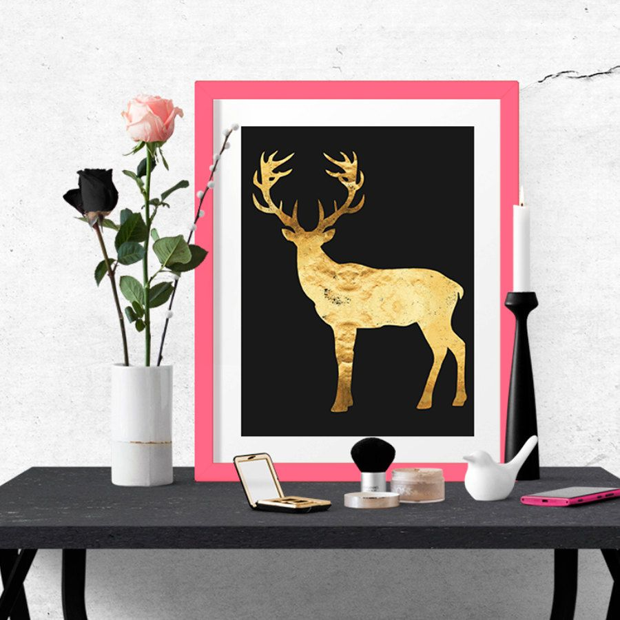 Black and gold foil deer poster wall art poster printable poster
