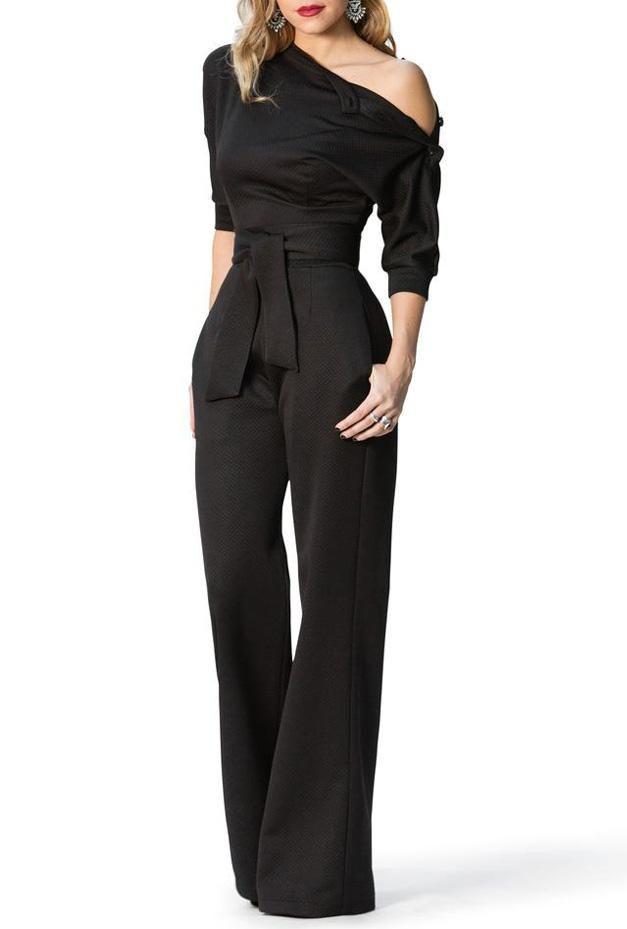 ee87e5bf4c2 Black Slanted One Shoulder Wide Leg Formal Jumpsuit...  www.wearethebikers.com