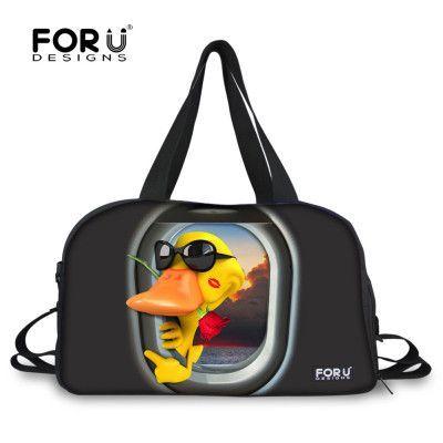 FORUDESIGNS Trendy Travel Duffle Bags for Women Animal Duck Giraffe Print  Female Canvas Travel Bag Large Weekend Duffel Tote Bag 10dda230cde43