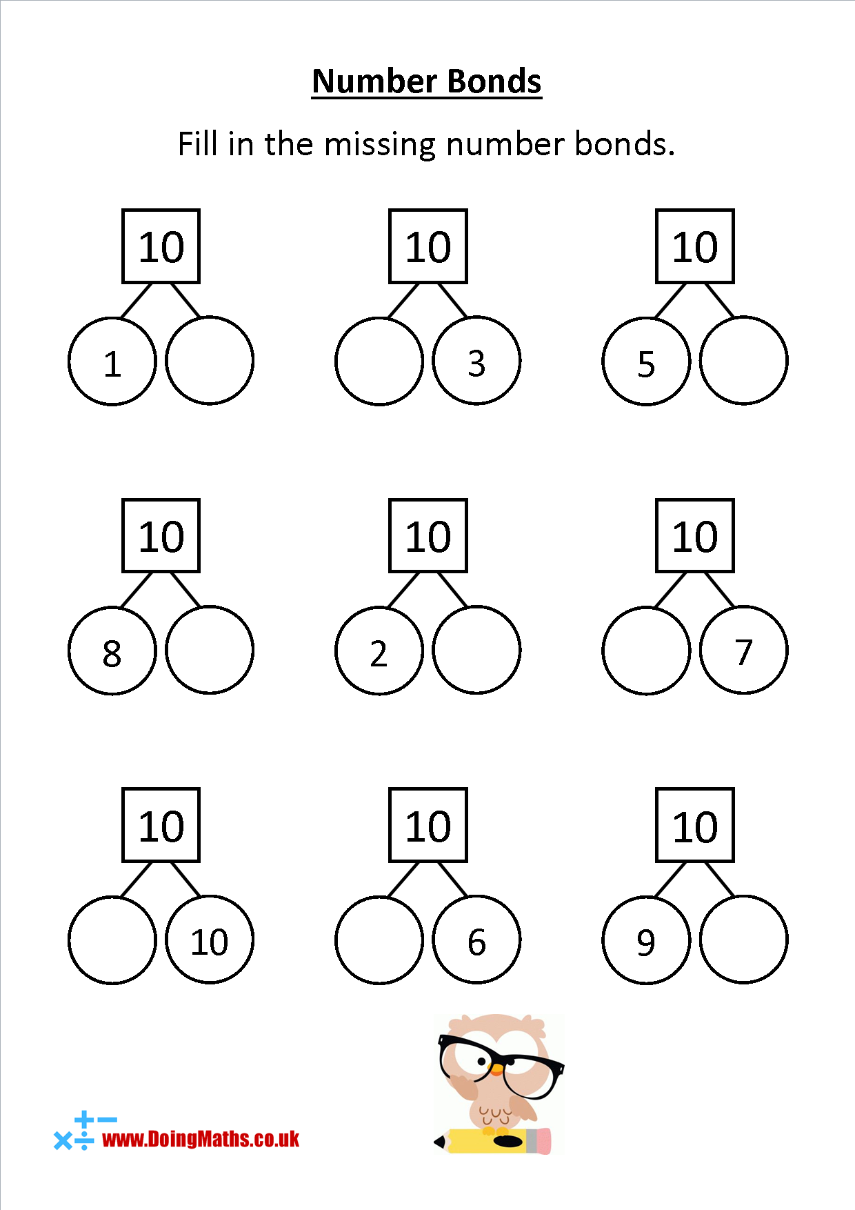 Number Bonds To 10 Worksheet In