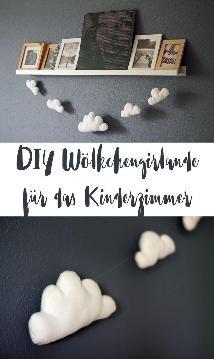Wölkchen Girlande - DIY Kinderzimmer Deko - Geschenkidee