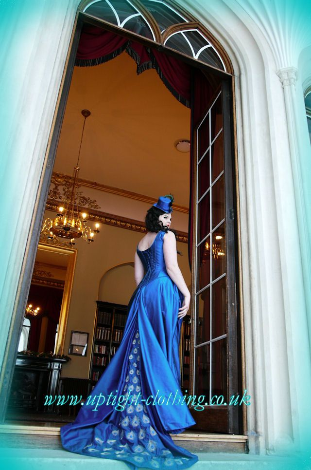 Stunning couture corset,peacock blue victorian style riding outfit wedding dress