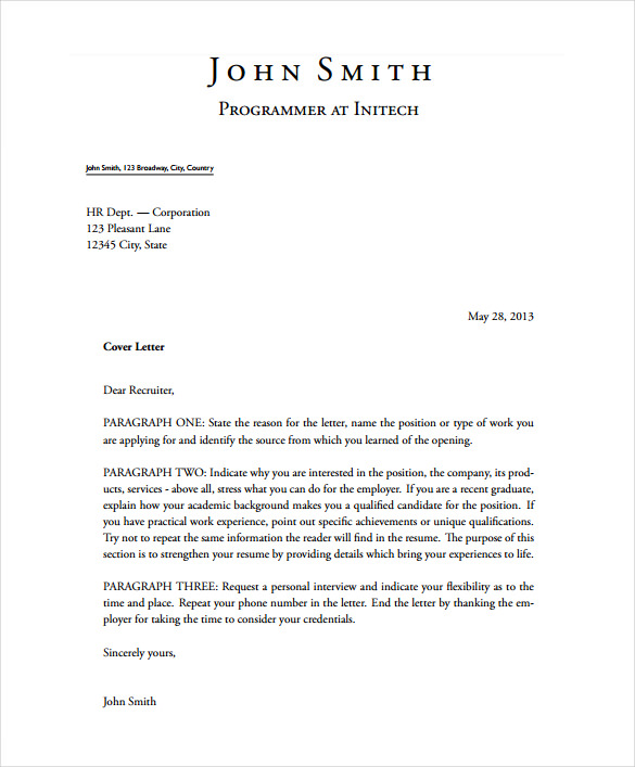 Cover Letter Templates Free Download (1) TEMPLATES