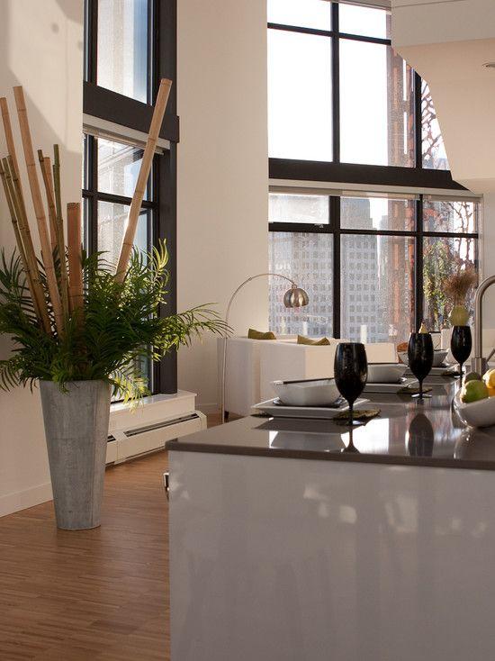 Ideen für Bambusstangen Deko küche moderne wohnung raumhohe fenster ...