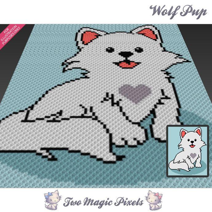 Wolf Pup crochet blanket pattern; c2c, cross stitch; graph; pdf ...