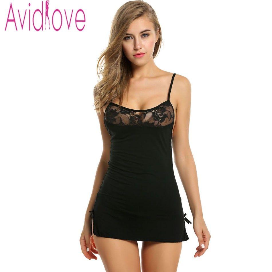 Avidlove Cami Lingerie Halter Stretch Babydoll Mini Sleepwear Lace Dress