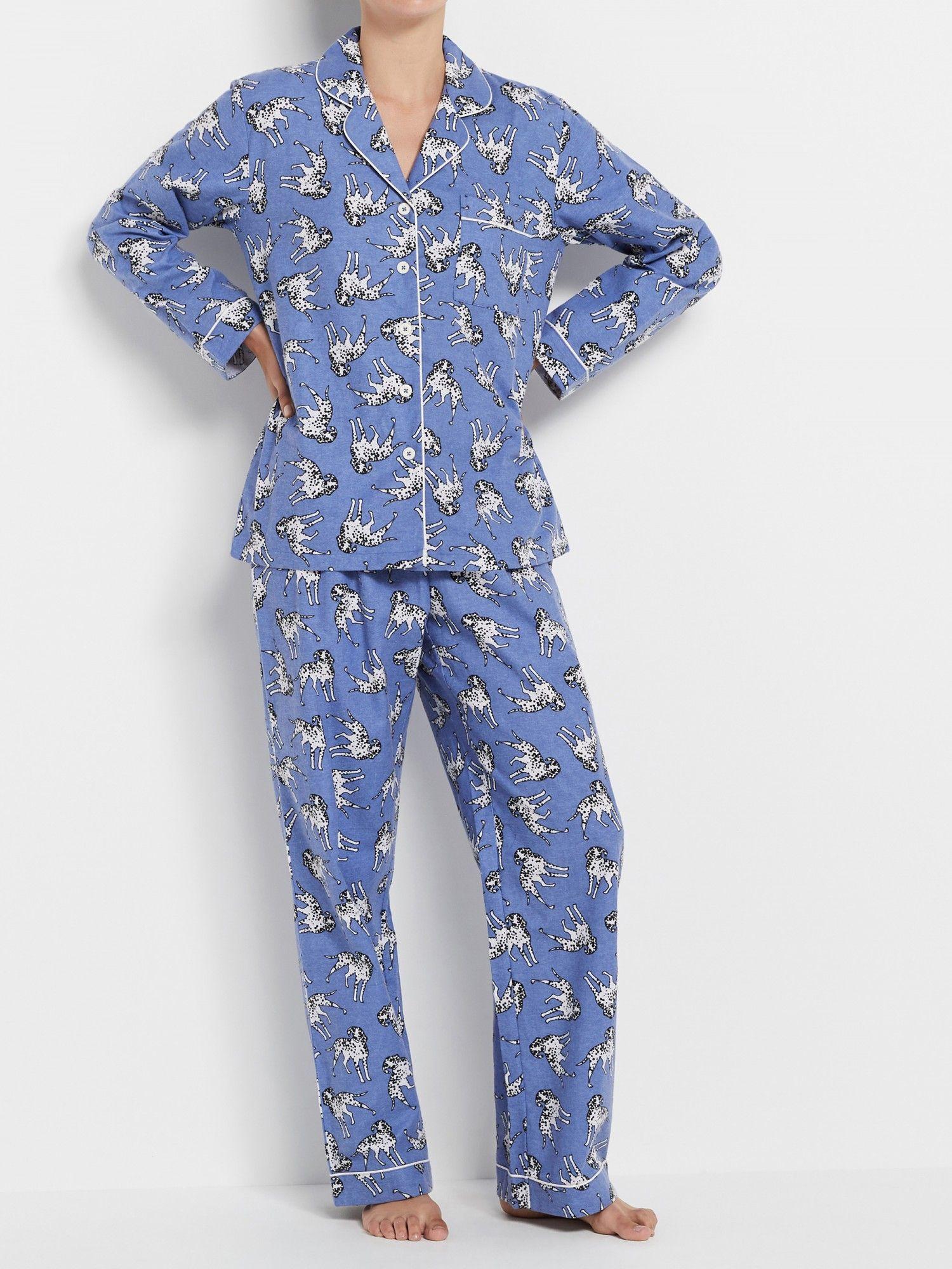 Dog Print Flannelette Pyjama Set Pajama set, Women