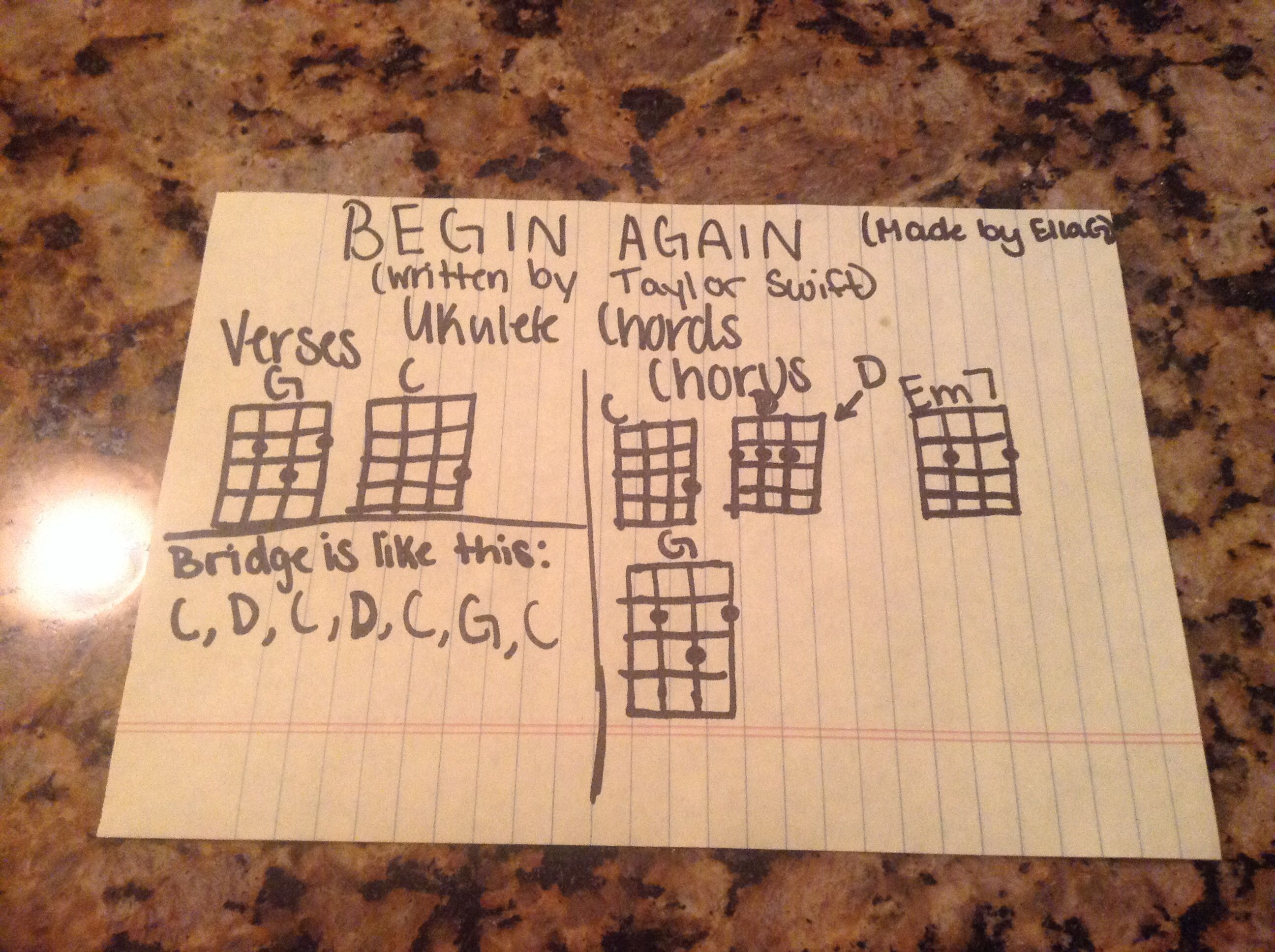 Here Is The Ukulele Chords For Begin Again I Know This Is A Little