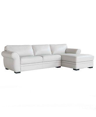 Carmine Leather Sectional Sofa 2 Piece Apartment Sofa