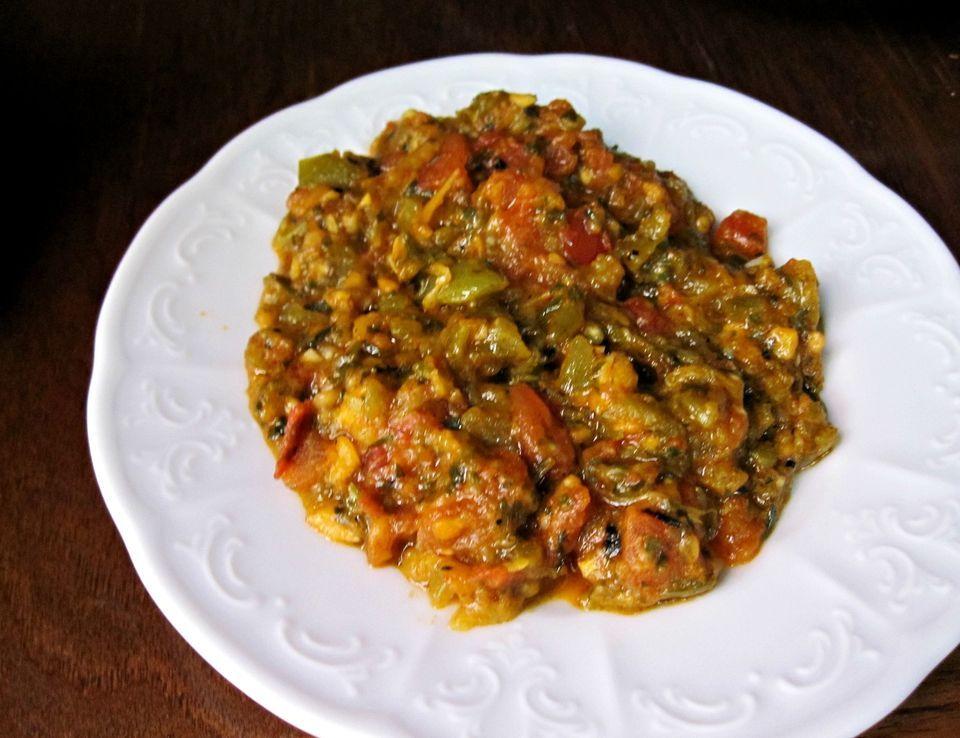 Turkish Roasted Eggplant Salad Recipe Recipe In 2020 Stuffed Peppers Roasted Eggplant Salad Moroccan Cooking