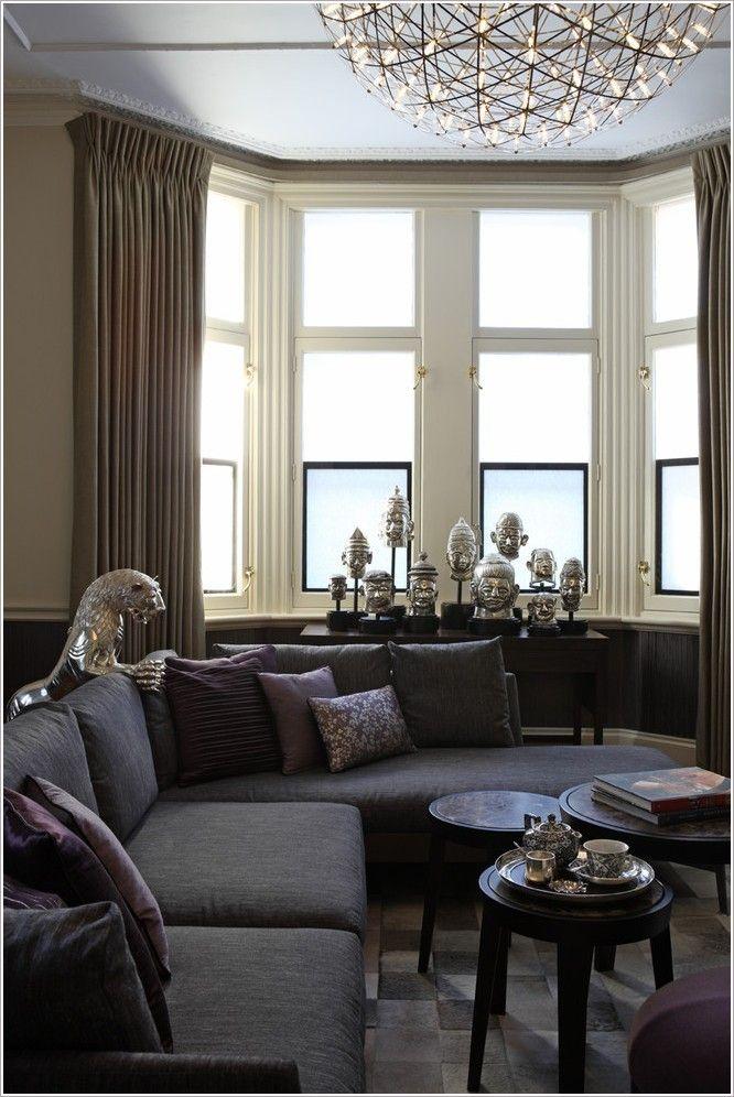 Wohnzimmer Design Mit Erkerfenster #fenstersitze #ideen #gardinen #vorhänge  #einrichtungsideen #
