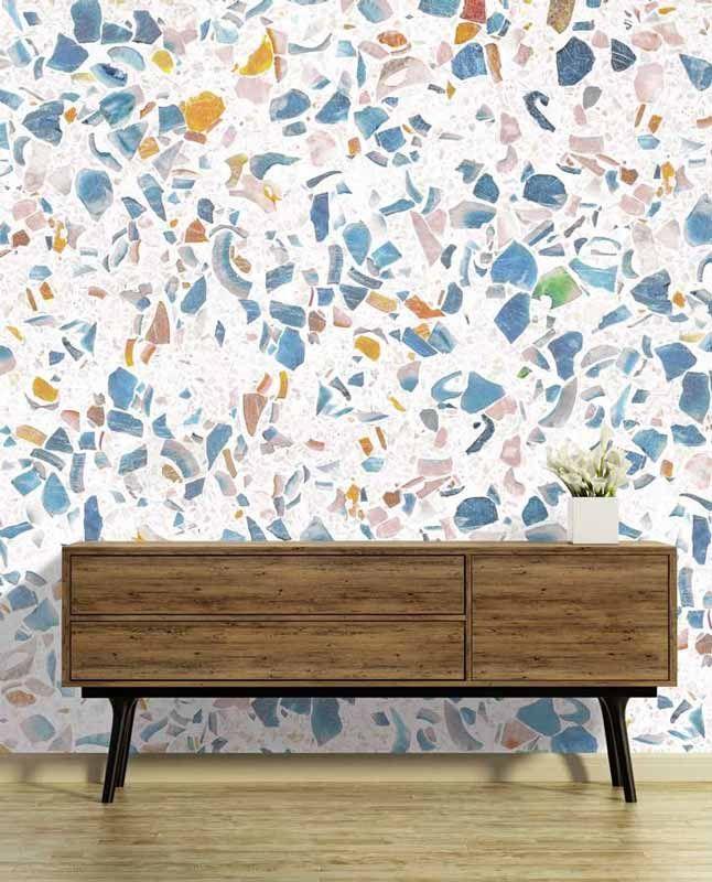 papier peint terrazzo c 39 est la nouvelle mati re tendance effets de mati res en d cors. Black Bedroom Furniture Sets. Home Design Ideas