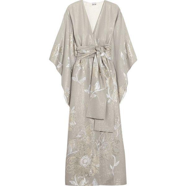 Carine Gilson Floral silk-jacquard kimono ($2,380) ❤ liked on Polyvore featuring intimates, robes, silk robe, silk flower robe, floral print kimono, kimono robe and carine gilson