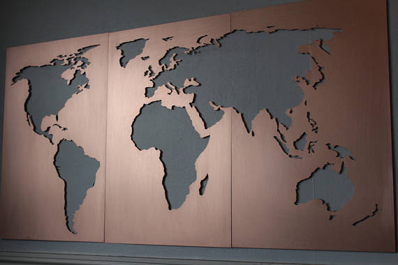 LARGE Wall Art World Map metal / Vintage World Map Print ...