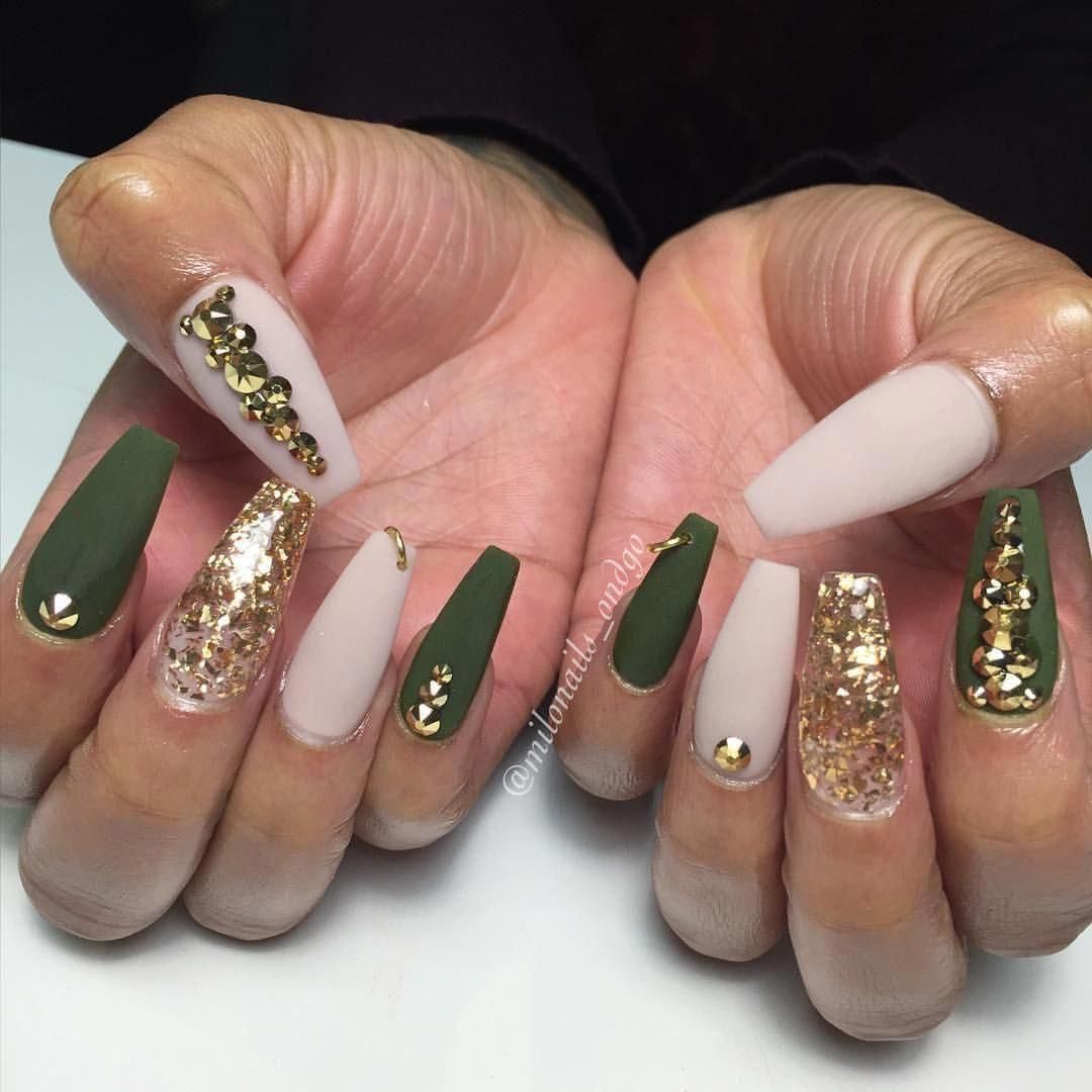 Army green nail art gold Swarovski Bling Stiletto Nails ...