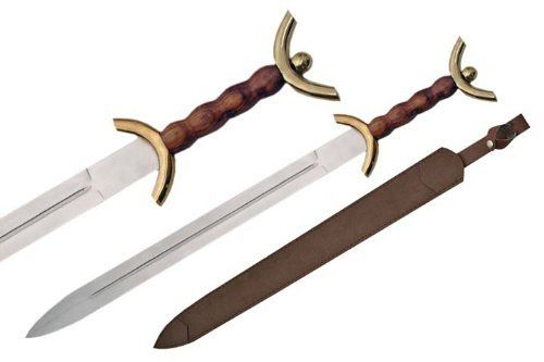 "Szco Supplies Celtic War Sword by SZCO Supplies. $33.15. This Celtic War Sword is 31"" in overall length. The guard and pommel are both made of brass. This sword comes with a leather sheath."