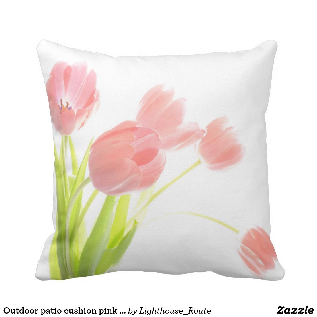 Outdoor Patio Cushion Pink Tulip Flower Outdoor Patio Cushions