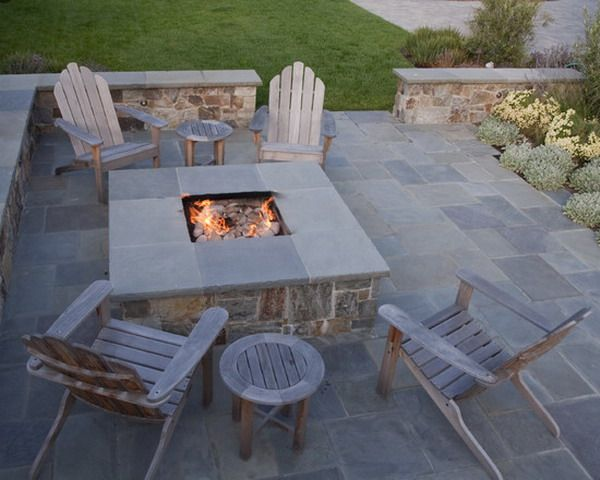 Like The Stone Patio And Benchwall But Stucco, Not Stone. Contemporary  Square Outdoor Patio Fire Pits Design