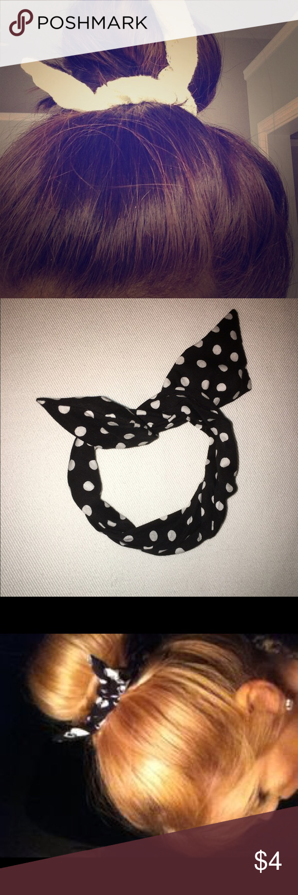 Black & white polka dot wire wraparound for bun! Super cute. Worn once. Works great! Great shape. The 2nd picture is the product you're getting. 😍 Claire's Accessories Hair Accessories