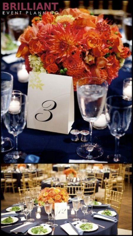 Wedding color palette navy blue and orange table decor - Orange and blue decor ...