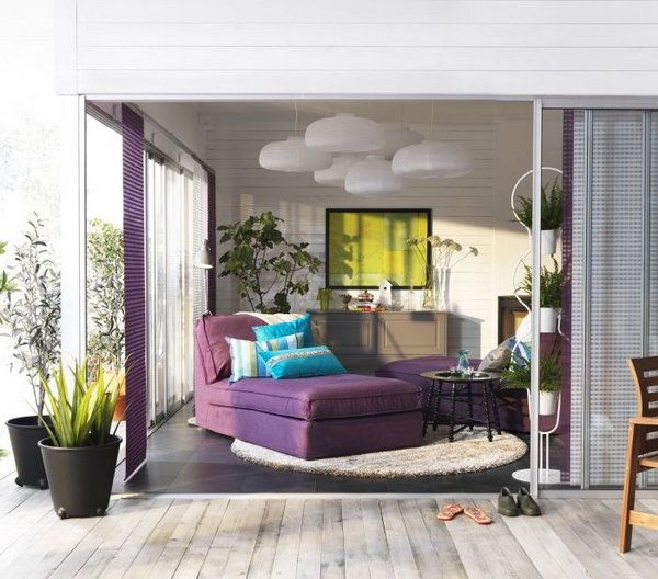 Glamorous Ikea Living Room Purple And White Are A Fantastic Color Combination Sofas Lights Plus Some Potted Plants Add Touch