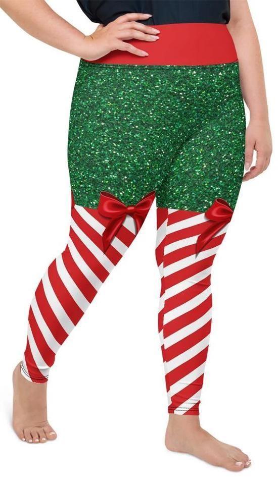 Photo of Candy Stripe Christmas Plus Size Leggings
