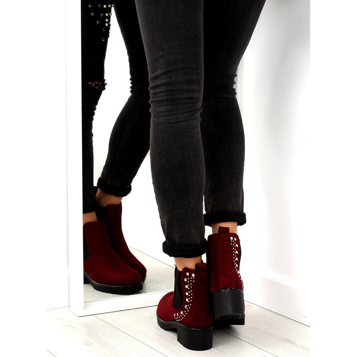 Sztyblety Z Cwiekami Bordowe Z175 Burgundy Czerwone Black Jeans Boots Over Knee Boot