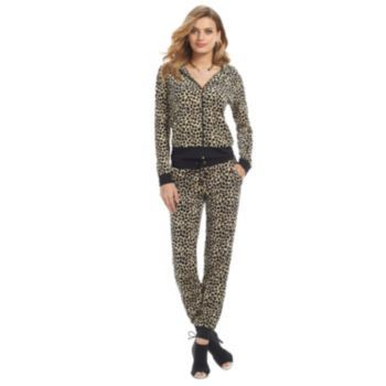 Juicy Couture Leopard Velour Track Suit Outfit - Women s  05ddd9a40