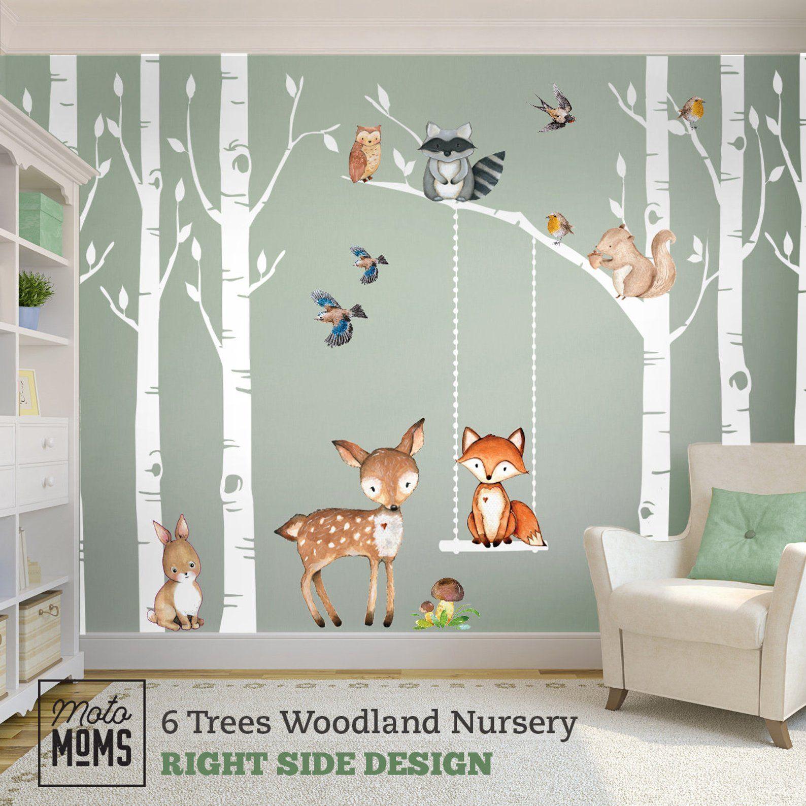 Nursery Wall Decal Forest Woodland Animals Critters Squirrel Children Room Decor