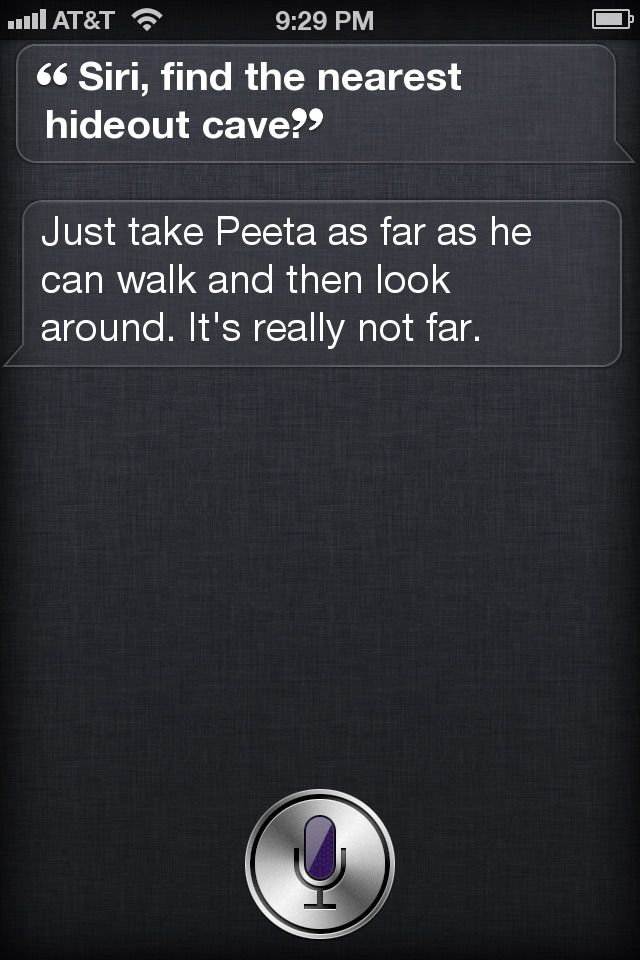 . If the tributes had iPhones-finding Peeta would have been a whole lot easier…just a simple text.