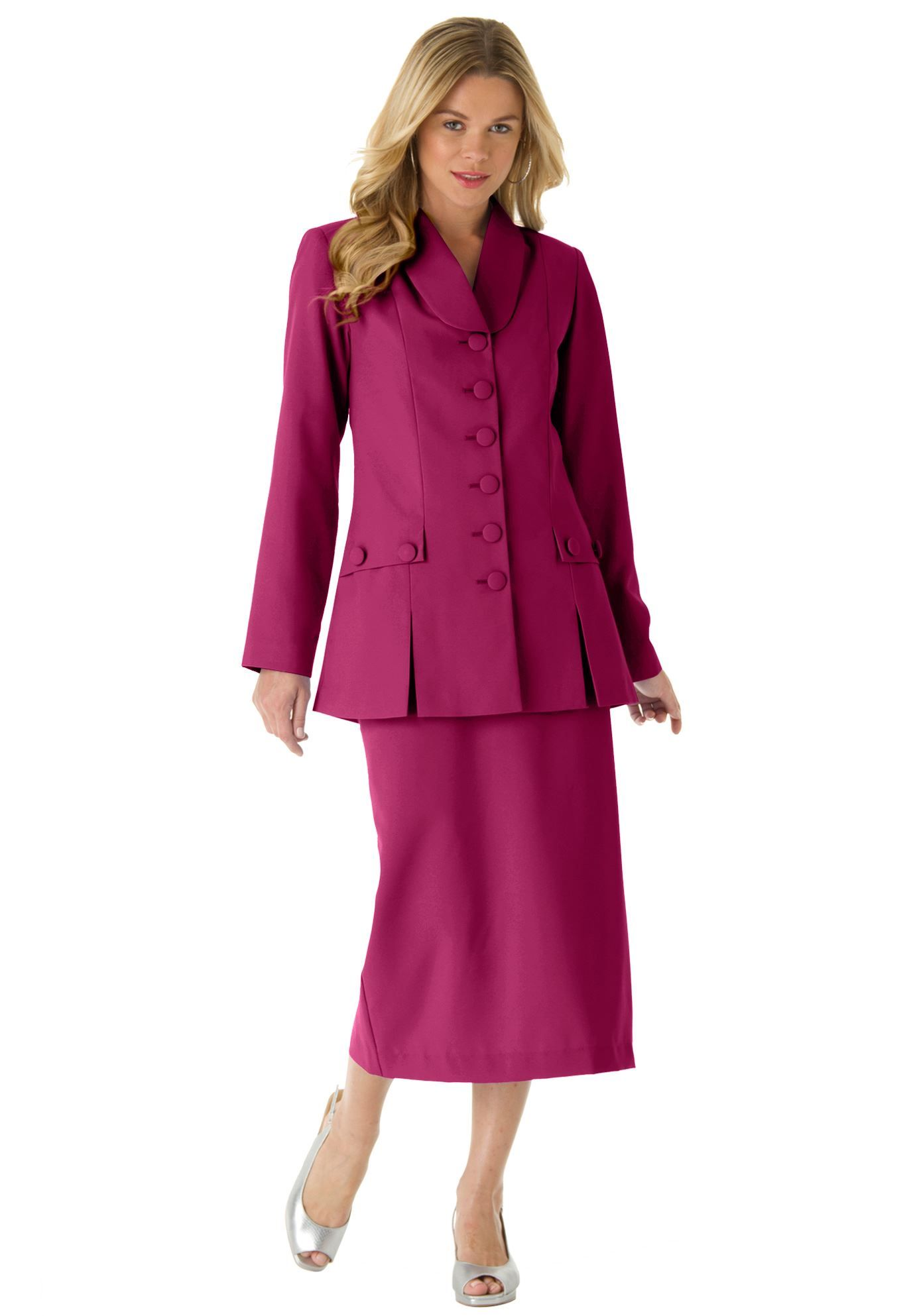 4341c3b366b2a Roaman s® 10-Button Skirt Suit Plus Size Suits