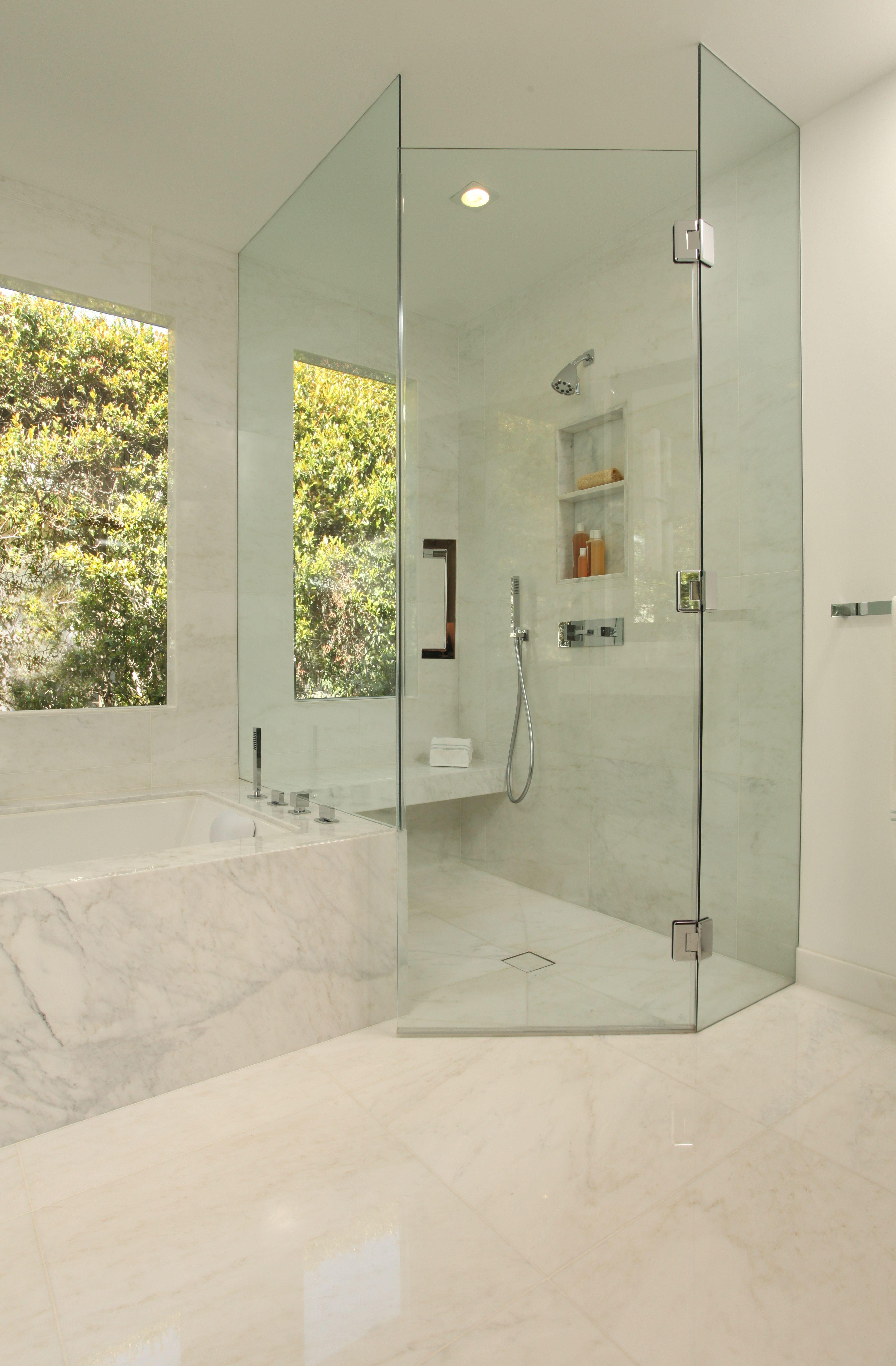 masterbathroom allwhite shower glassdoors bench custom