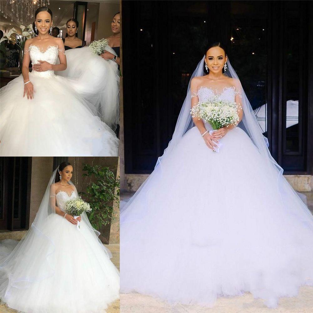 Beads sheer plus size arabic white train wedding dress