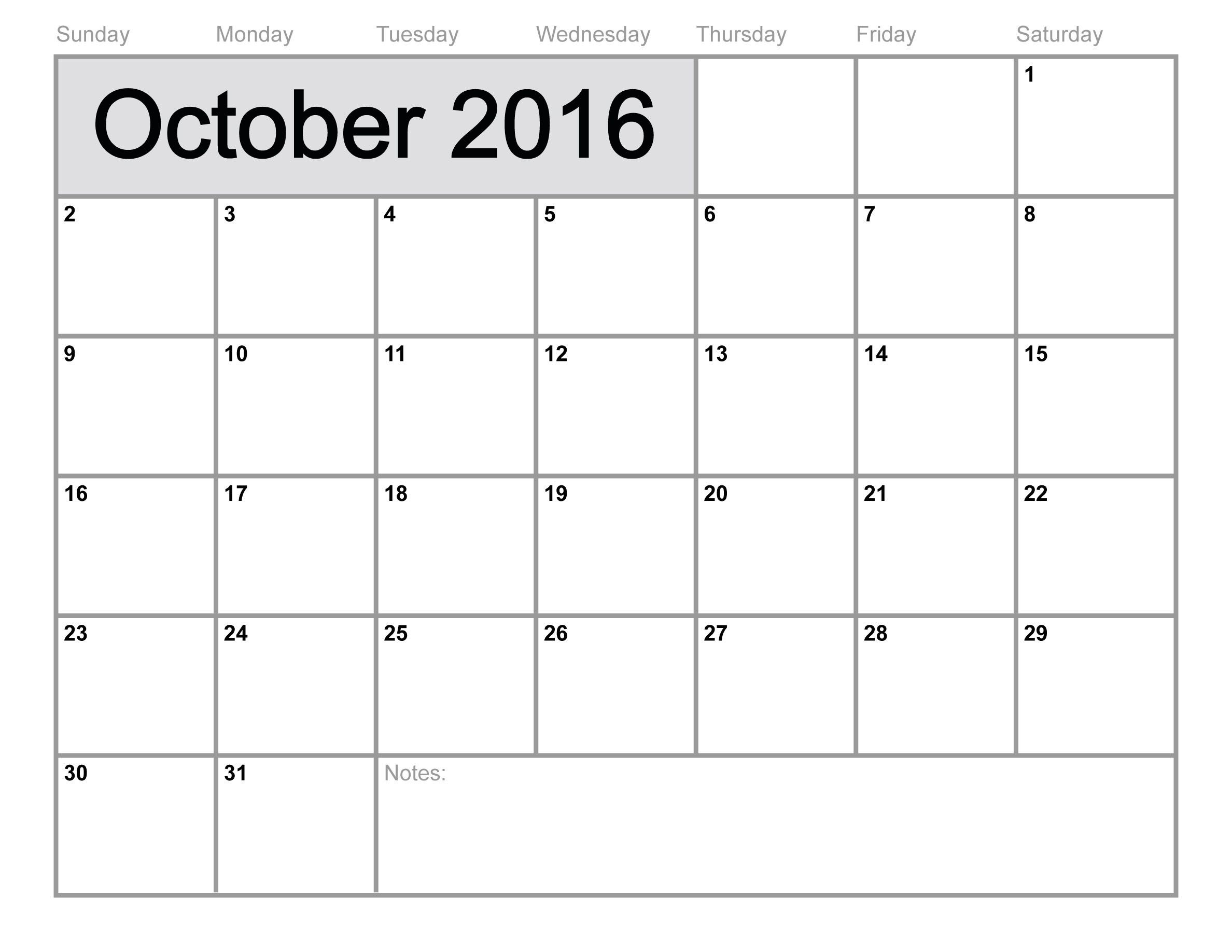 Print October Calendar 2016 Free line