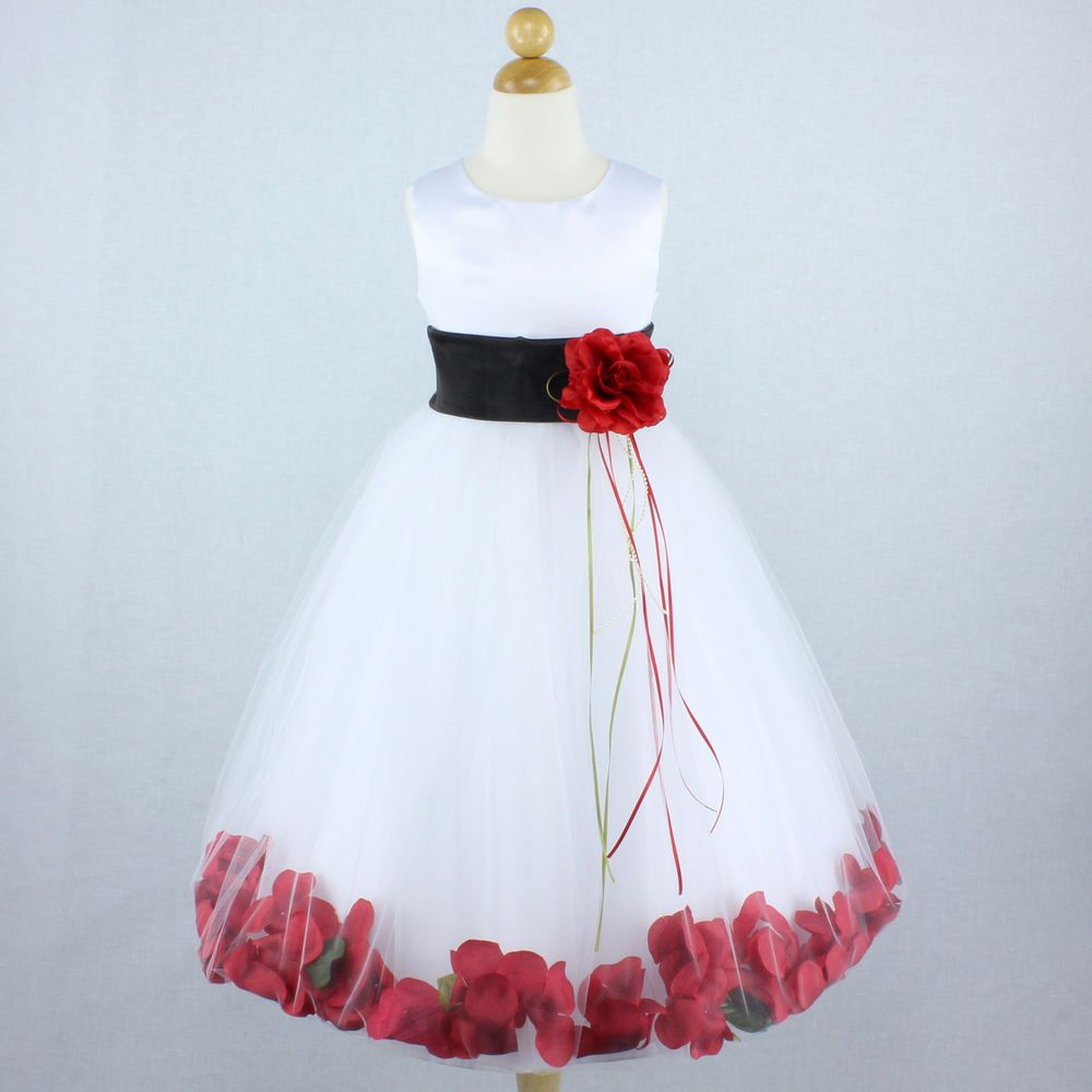 White Black Red Flower Girl Dress Gown Petals Wedding Formal Recital