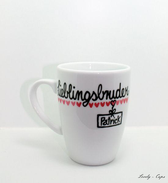 tasse lieblingsbruder tasse mit namen und herz von lovely cups auf handcraft. Black Bedroom Furniture Sets. Home Design Ideas