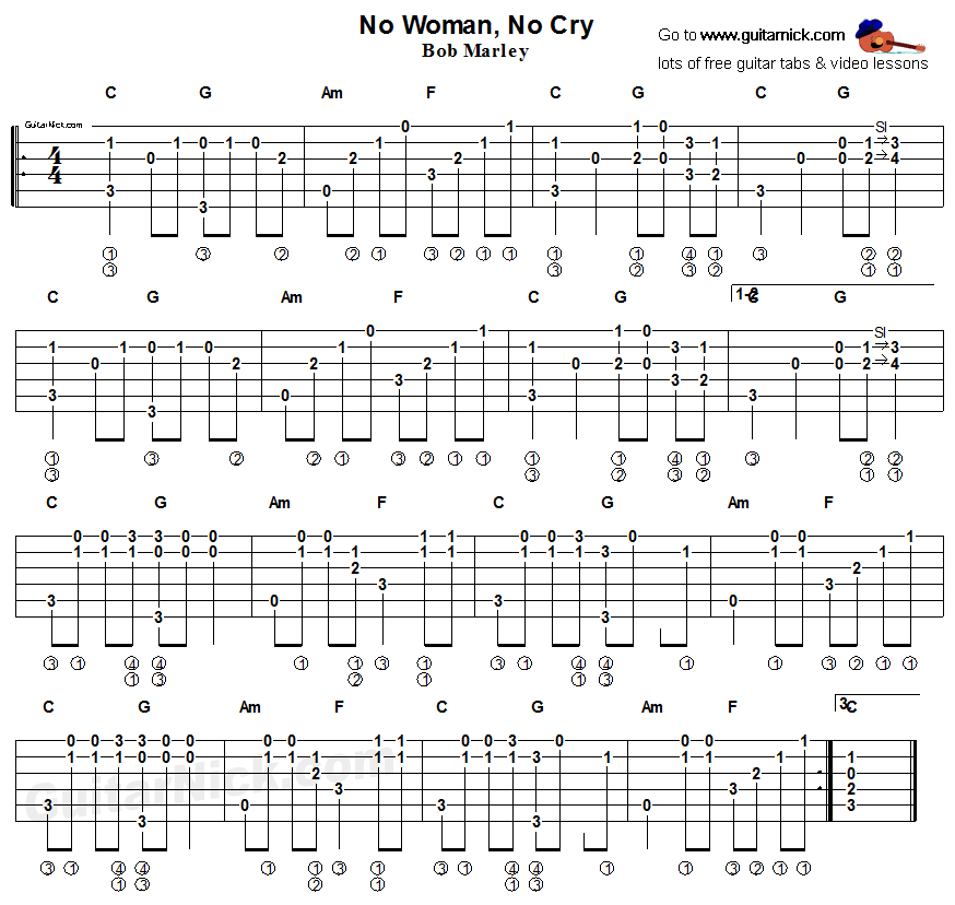 Guitar besame mucho guitar chords and lyrics : No Woman No Cray, Bob Marley - fingerstyle guitar tab | Music ...
