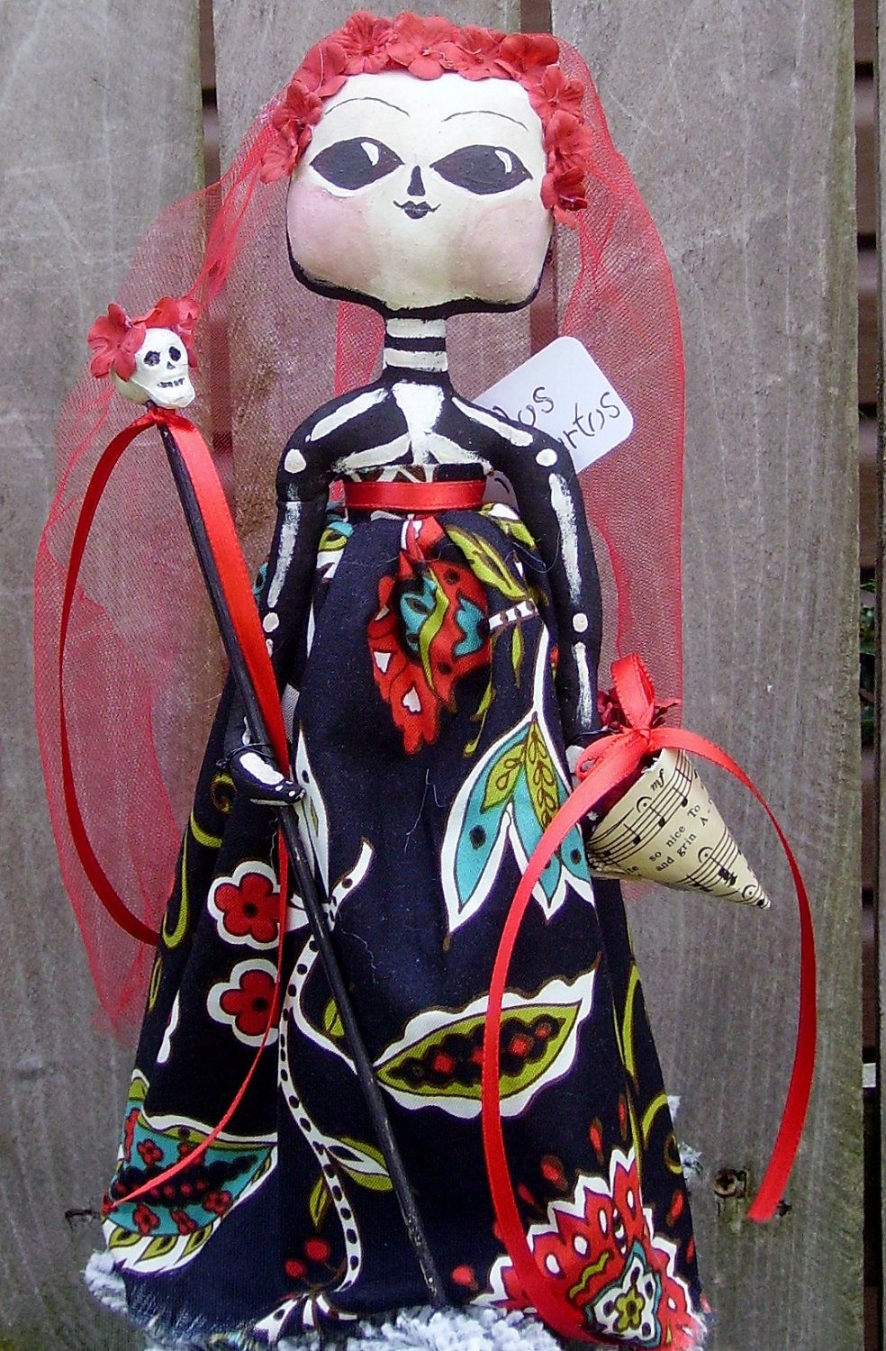 Day of The Dead Doll Primitive Folk Art Tree Topper. $40.00, via Etsy.