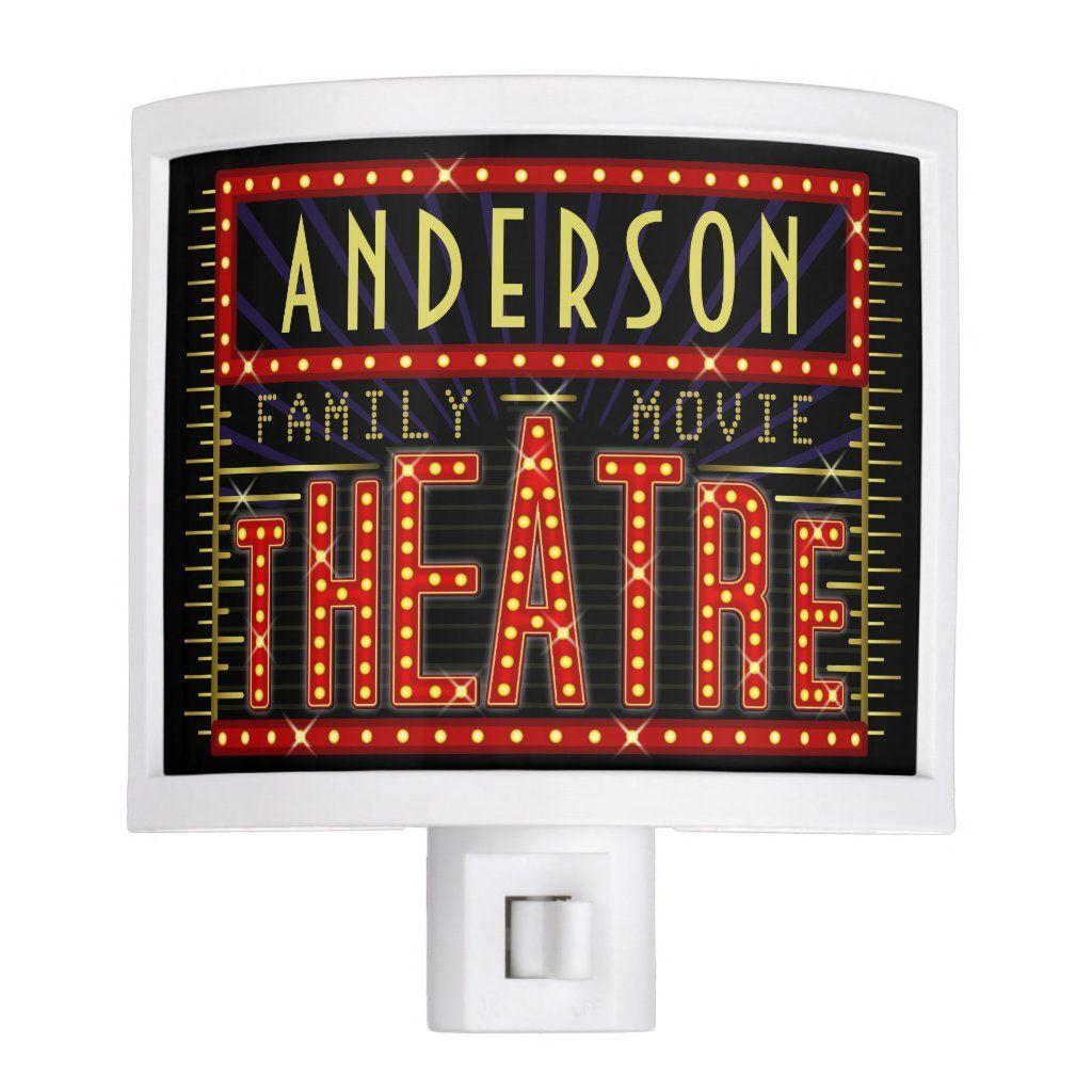 Movie Theatre Marquee Home Cinema | Personalized Night Light | Zazzle.com