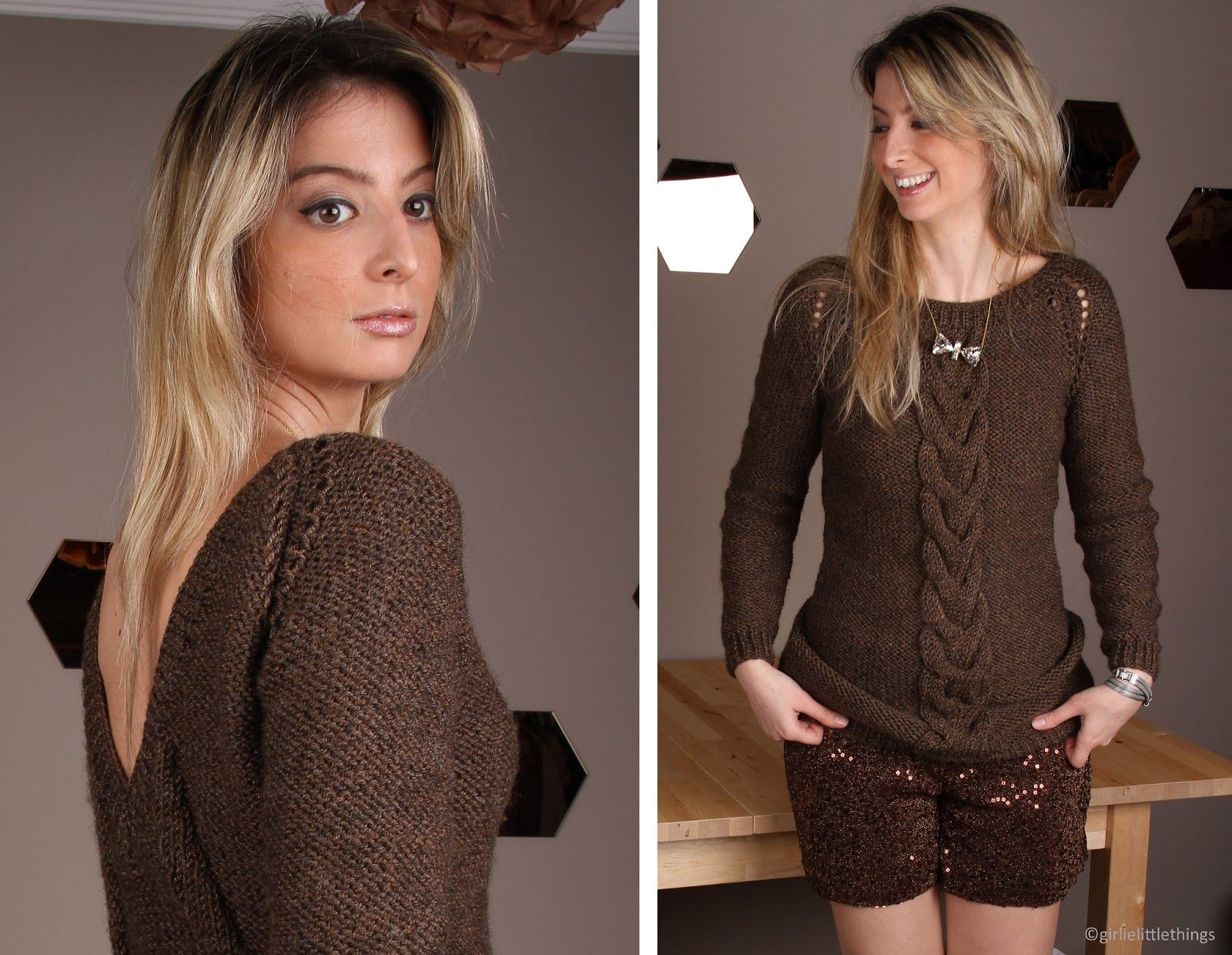 """#designroom girls for #valentinesday. number 7: """"girls night out"""" #brown #back #knitwear #sequin #shorts"""