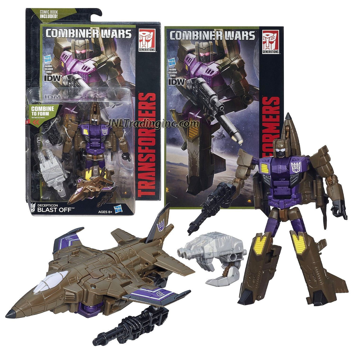 """Transformers Generations Combiner Wars Deluxe Class 5-1/2"""" Tall Figure - Decepticon BLAST OFF with Blaster, Bruticus' Right Arm & Comic Book (Vehicle Mode: Fighter Jet)"""