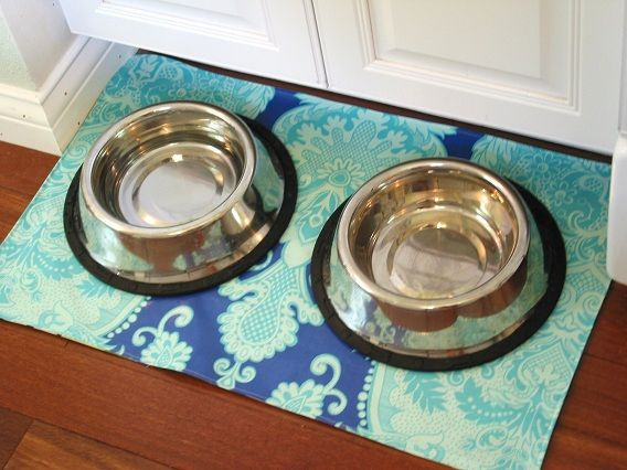 2sided laminated cotton dog bowl mat by niesz vintage fabric via flickr