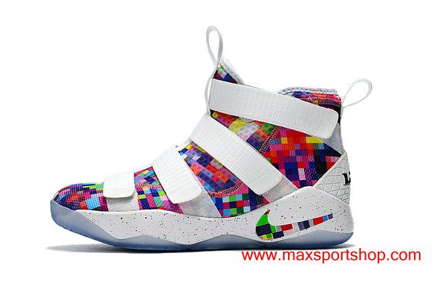 f6fbb8a3542d Nike LeBron Soldier 11 White Rainbow Color Grid Basketball Shoes  76.00