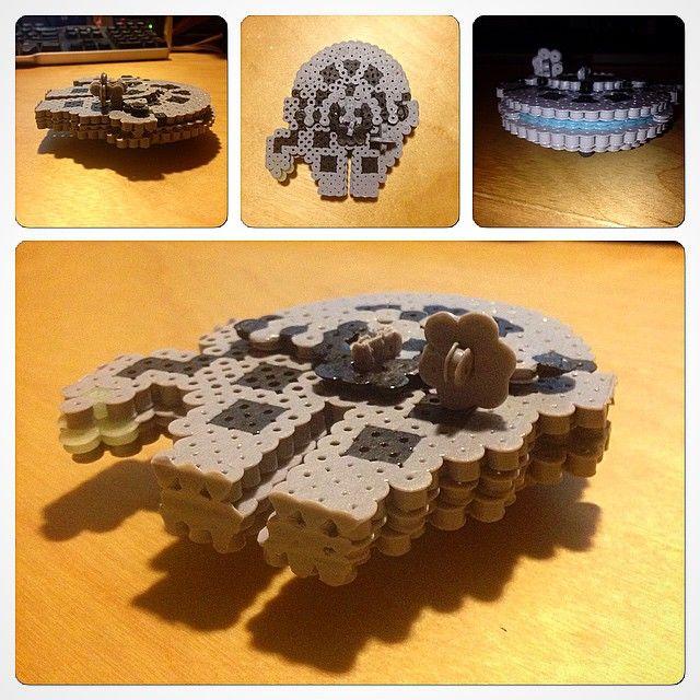 3D Millennium Falcon Star Wars perler beads by grog42