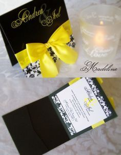 Classy Yellow And Black Wedding Invitation By Enchanted Moments
