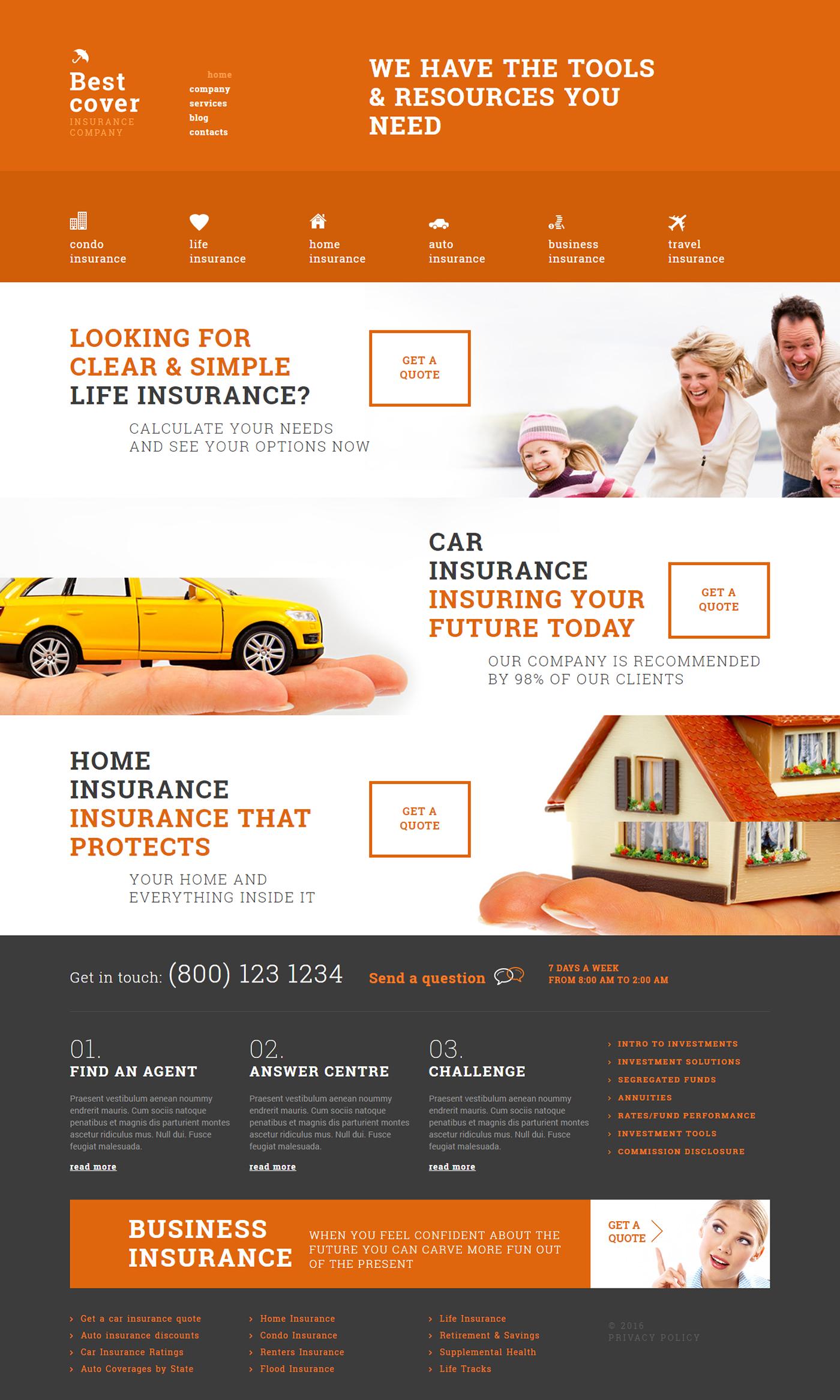 Insurance company wordpress theme on behance wordpress themes insurance company wordpress theme on behance business website wajeb Images